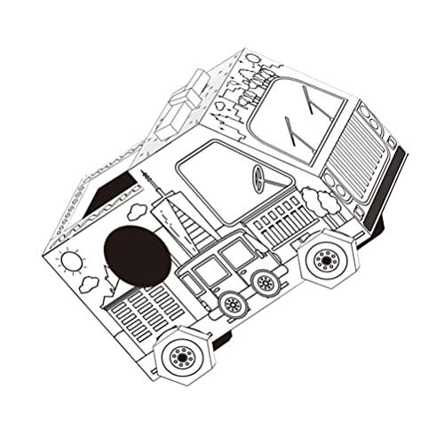 Garneck I Veicoli di Cartone per I Bambini Assemblati Carta del Veicolo Colorazione Giocattolo Modello di Migliorare I Bambini La capacità di capacità di Pittura Educativo Bianco