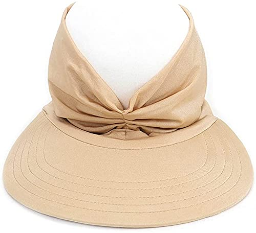 GJGBIVI Solid Color Sun Hats for Women, Anti-Ultraviolet Summer Sun Visors Wide Brim Elastic Hollow Top Hat Beach Hat (Beige)