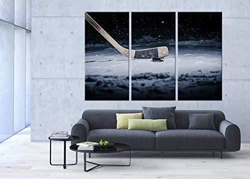 IOIP Arte Pared Pintura Tríptico Cuadro sobre Lienzo 3 Piezas Impresión en Lienzo Palo y Disco de Hockey Decoración del Hogar Total 150X70CM
