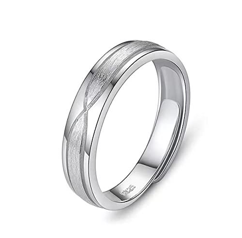 Alianzas de boda de plata de ley 925, anillo de platino para hombre y mujer con circonitas cúbicas, ajustable., Metal no noble.,
