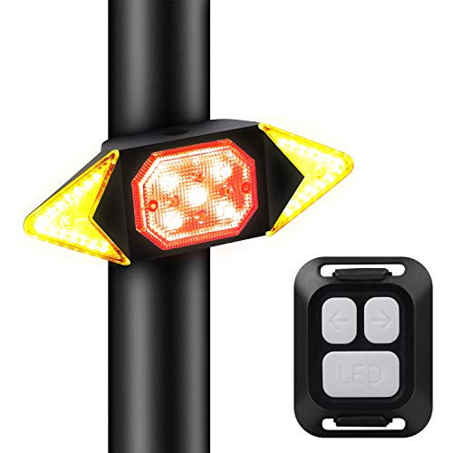 Zhangpu Fahrrad-Blinklicht mit Fernbedienung, Wasserdicht Fahrradrücklicht, Rücklicht mit Blinker, für Radfahrer, Stroboskoplicht, Sicherheitswarnung, 5 Leuchtmodi