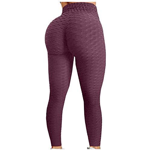 SMTM Los Famosos Leggings TIK Pantalones De Yoga para Mujeres, Pantalones De Fitness. (Vino,X-Large)