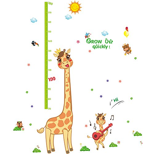 Winhappyhome Giraffe Children's Height Growth Measurement Chart Art Muraux Stickers pour Kids Room Garderie Kindergarten Décalcomanies Décor Amovibles