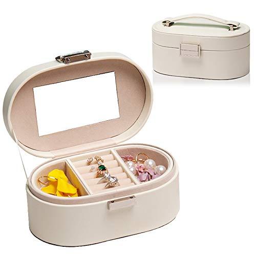 Recet Joyero de doble capa de alta calidad, portátil, caja de almacenamiento para joyas de viaje