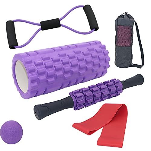 Tallgoo Rodillos de Espuma,6 en 1 Foam Roller Kit,para Ejercicios musculares para Masaje Muscular, Punto de activación, Rodillo de Yoga