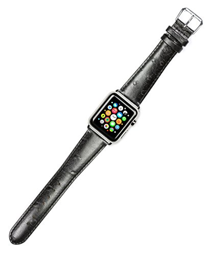 Debeer Genuine Top Grain Leather Replacement Watch Strap - Ostrich Grain - Black - Compatible with Apple 38mm & 40mm Series 1, 2, 3, 4, 5, and 6 Apple Watch [Silver Adapters]