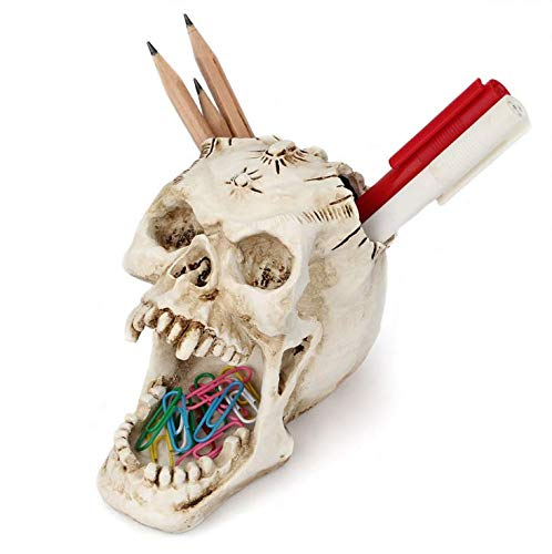 Holiberty 3D Skull Pen Pencil Holder Funny Makeup Brushes Organizer Cup Skeleton Head Stationery Ornaments Pins Paper Clips Organizer Spooky Container Halloween Decor for Phone Remote Scissor Ruler