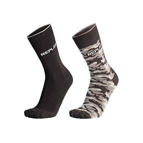 Replay, C100759-N210, Socken, Camouflage, Schwarz, Camouflage-Grau, 39/42