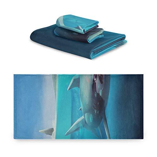 Juegos de toallas de baño para niñas Hungry Shark World X Ios Android Shark Juego de toallas decorativas de baño extremadamente absorbentes, hermoso juego de toallas de 3 piezas 1 toalla de baño, 1 t