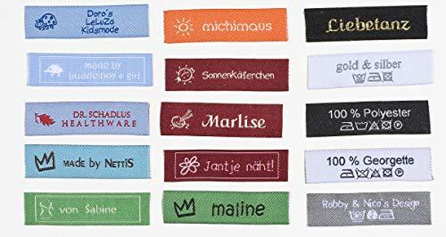 namensbaender 50 Stoffetiketten, gewebte Textiletiketten, Text, Symbol, 2-zeilig (50)