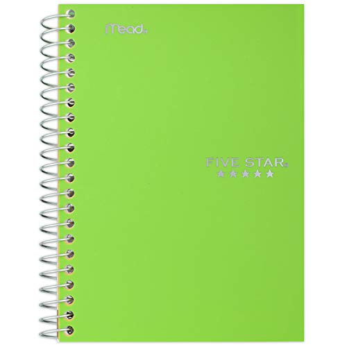 """Five Star Spiral Notebook, 1 Subject, College Ruled Paper, 100 Sheets, 7"""" x 5"""", Personal Size, Color Selected For You, 1 Count (45484)"""