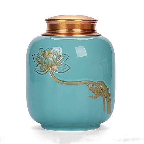 Teedose aus Keramik, Retro- und Lotusblumen-Design, Aufbewahrungsdose mit luftdichtem Deckel, Versiegelungsbehälter für Lebensmittel, Farbe: Blau
