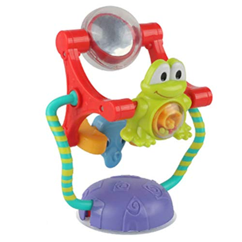 Yooyg 2 en 1 con ventosa, juguete de silla alta, diseño de rana elefante espejo, rueda de la noria del bebé sonajero juguete de aprendizaje temprano de giratoria de la succión de la silla para bebés