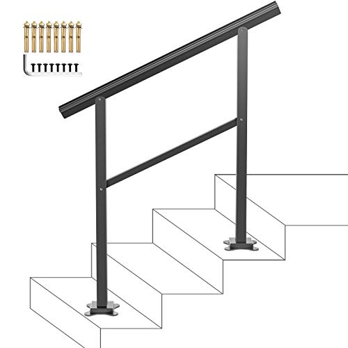 VEVOR Handrail Fits 1 or 3 Steps,Handrails Real Iron Metal Material,Real Wrought Iron Handrails, with Installation Kit Hand Rails for Outdoor Steps-Matte Black