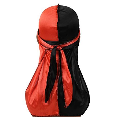 VEED Gorras de pirata Durag sedosas para hombre y mujer, 2 tonos, color block de cola larga, bandana para la cabeza, gorro de quimio, hip hop, turbante #3