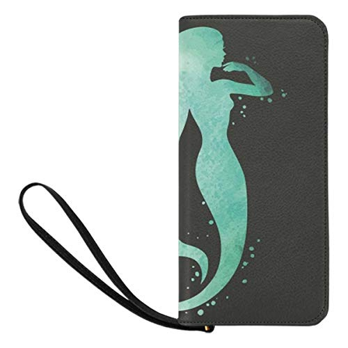 InterestPrint Watercolor Mermaid Silhouette Women Wallet Zip Clutch Wallet Travel Purse with Strap