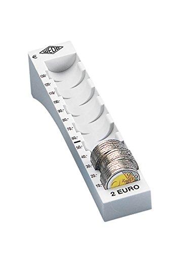 Wedo 160720037 Münzrille (2 Euro, Kunststoff für 65 Münzen mit Markierungen 18 x 4,5 x 3,76 cm) lichtgrau