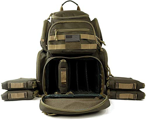 NiceAndGreat Tactical Shooting Range Backpack Carries 5 Handguns Ammo Pouches and Magazine Pockets for Pistols Thick Heavy Duty Gun Carrier Range Bag (Army Green)