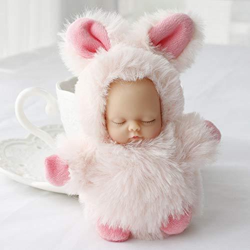 RENNICOCO Mini Nette Puppen Plüsch Stuffed Keychain Schlaf Neugeborenes Baby Puppe Handytasche Hängen Spielzeug Ornamente Zubehör