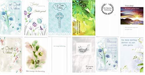 12 Luxe wenskaarten - Condoleance/Oprechte deelneming - 12x17cm - Gevouwen kaarten met enveloppen