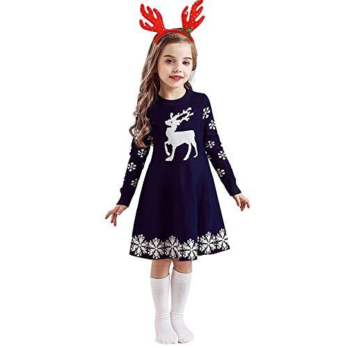 Tonsee Kinder Mädchen Weihnachten Strick Kleid mit Stirnband Prinzessin Langarm Kleider Strickpullover Partykleid Hochzeit Mode Ballkleid Abendkleid Herbst Winter Warme Festlich Kostüme (140, Navy)