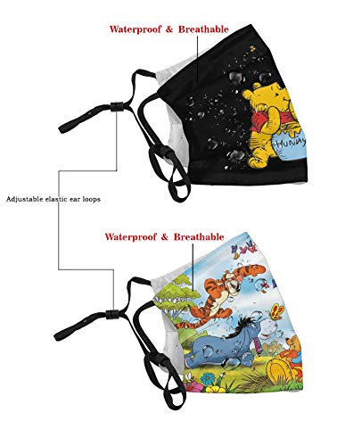 2pcs Winnie The Pooh Outdoor sports Replaceable Filter Reusable Face Cover Dust Cover Mouth Scarf