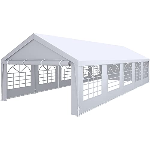 YITAHOME 16' x 32' Heavy Duty Gazebo with Extra Ground Bars Outdoor Party Wedding Tent Canopy Carport Shelter with Removable Sidewall Windows (16x32, White)