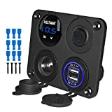 Kohree 12V Marine Car Charger Socket Panel, 4 in 1 Waterproof Boat Cell Phone Rocker Switch Panel with 12 Volt Dual USB Power Outlet Cigarette Lighter Socket for RV Marine Boat Camper Truck Automotive