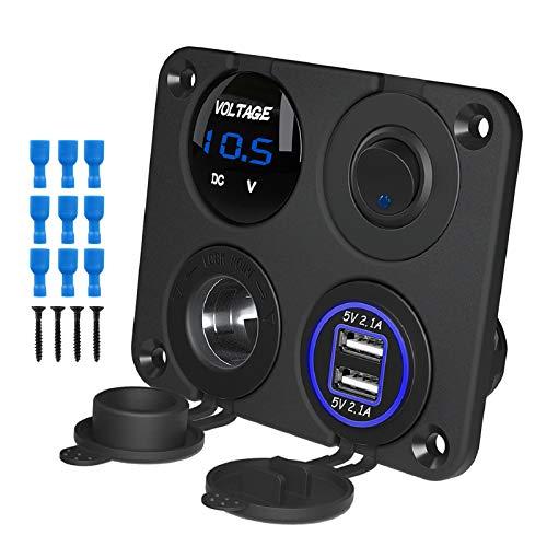 Kohree Caricatore USB 4 in 1 con pannello di alimentazione, 12 Volt, presa USB per camper con voltmetro a LED, interruttore ON/OFF, pannello accendisigari per auto, barca, camper, camion, GPS, camion