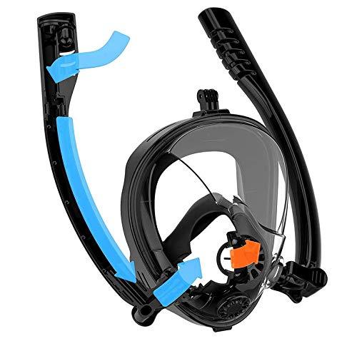 Máscara de snorkeling en superficie con soporte de cámara deportiva, máscara de buceo, fácil respiración, sistema antivaho con soporte de cámara deportiva (máscara de snorkeling integral doble)