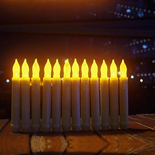 Led Battery Operated Powered Flameless Windows Taper Candles With Timer,Electric Flickering White Tapered Candlestick Decorations,Fake Harry Floating Lights Potter Candle For Christmas/Halloween Decor