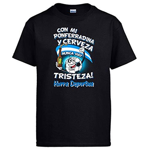 Diver Bebé Camiseta Frase con mi Ponferradina y Cerveza Nunca Hay Tristeza Ponfe fútbol - Negro, XL