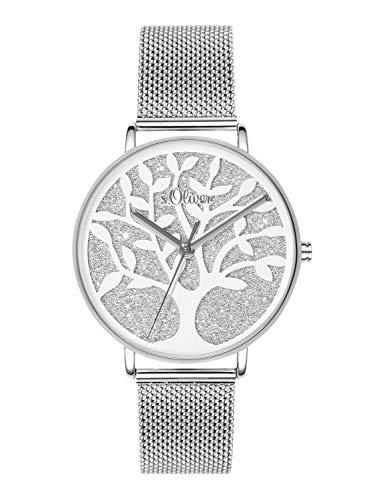 s.Oliver Damski analogowy kwarcowy zegarek na rękę, srebro, bransoletka