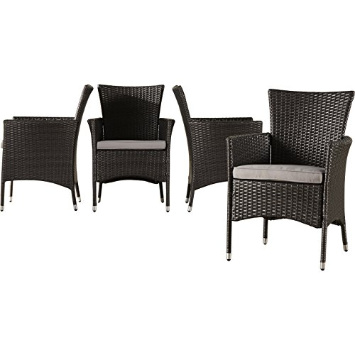 Brayden Studio Contemporary Malibu Wicker/Rattan Dining Arm Chair with Cushion, Set of 4 (BRSD2449). Fade and Rust Resistant Patio Dining Chairs. 32.6' H x 24.55' W x 23.75' D - Assembly Required