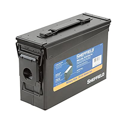 Sheffield 12623 .30-Caliber Black Military Style Ammo Can | Rugged Metal Pistol, Rifle, Shotgun Ammo Box | Air Tight & Water Tight Container | Tamper-Proof, Lockable | Stackable Design