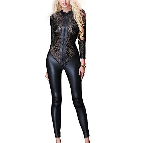 Sexy Lack Leder Dessous Sexy Damen PVC Leder Kunstleder Reißverschluss Skinny Long...