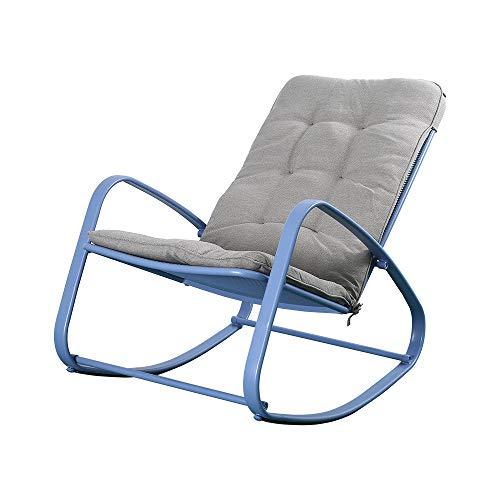 Okeysen Outdoor Patio Rocking Chair, Ergonomic Cushioned Steel Rocker Chair, 300 lbs Support, for Porch, Backyard, Balcony, Poolside. (Blue)