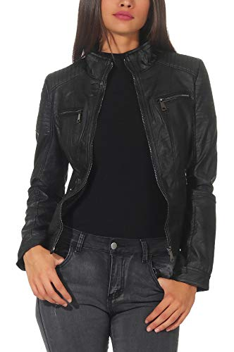 Malito Damen Jacke | Kunstleder Jacke | Jacke mit Zipper | lässige Bikerjacke - Sakko - Jackett 5179 (schwarz, XL)