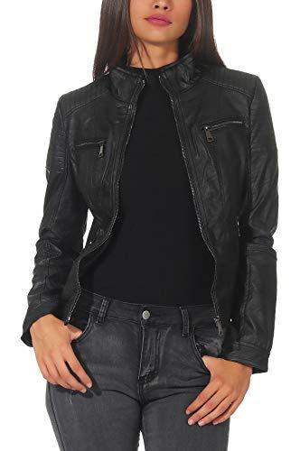 Malito Damen Jacke | Kunstleder Jacke | Jacke mit Zipper | lässige Bikerjacke - Sakko - Jackett 5179 (schwarz, S)