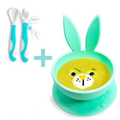 Brunoko Baby kommetje met zuignap + Baby bestek kinderservies 2 in 1- baby lepel en vork -100% BPA vrij siliconen baby placemat met antislip zuignappen - babyservies - Ontworpen in Spanje
