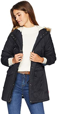 Levi s Women s Performance Sherpa Midlength Parka Jacket Navy poly Twill Lining X Large product image