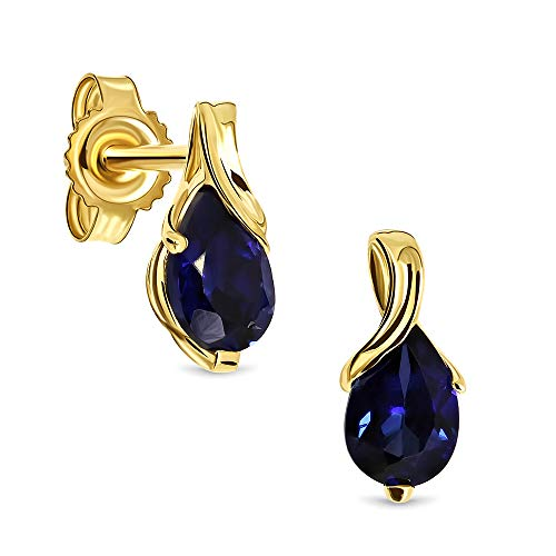 Miore Ohrringe Damen tropfen Ohrhänger mit Edelstein/Geburtsstein Saphir in Blau aus Gelbgold 9 Karat / 375 Gold, Ohrschmuck