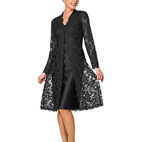 Luotuo Damen Mutters Kleid Spitzen Cardigan Chiffon Kleid Zweiteiliges Set Einfarbig Lange Ärmel Top Bluse Und Sling Rückenfrei Mittlere Länge Kleid Arbeit Business Casual Kleid