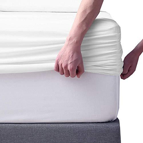 Spannbettlaken, Größe XL, 38,1 cm tief, langstapelig, Baumwolle, Fadenzahl 500, 100 % Baumwolle, 1 Spannbetttuch, nur weiches, atmungsaktives Satin-Gewebe, elastisch, rundum die Matratze, weiß