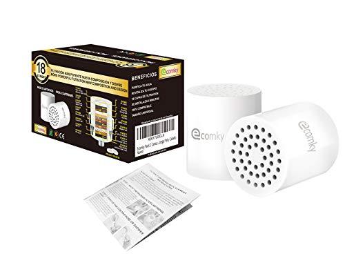 Ecomky Spain Pack 2 Cartuchos Recambio Filtro Ducha Universal 18 Etapas Reemplazable Compatible Filtros 10,12,15,17 Etapas Purificador Agua F-182 Antical Vitamina C Protege Piel y Cabello