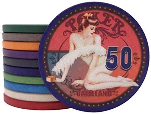 25pcs / Sets Beauty Girl Ceramic Poker Chips Baccarat Texas Hold'em Casino Club Tarjetas de Juego Mahjong ETP Fichas Conjunto Juegos de Mesa (Color: 1 Valor Facial)