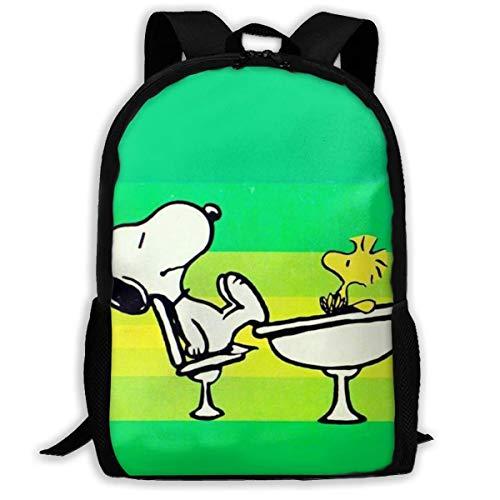 Mei-shop Casual Backpack Sn-oopy Print Zipper School Bag Travel Daypack Backpack-N8