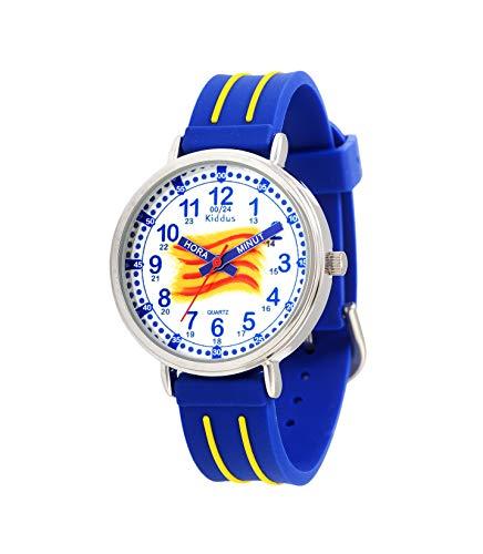 KIDDUS Educatief Kinder Horloge voor Jongens en Meisjes. Analoog Time Teacher Polshorloge met Oefeningen, Japanse Quartz-Mechanisme, Designed om te Helpen de Tijd te Leren. Wijzers in Talen
