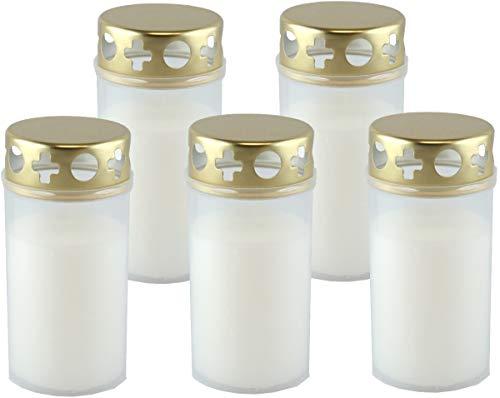 Unbekannt Grablicht Brenner Nr. 3 mit Golddeckel Weiss, Dauerbrenner, 5er Set, Grabkerzen, Tagebrenner