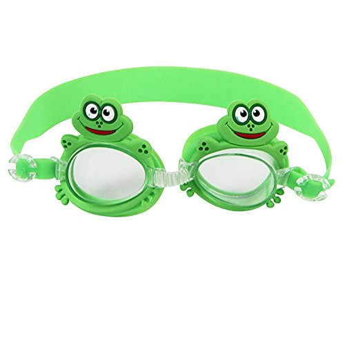 JKLO Gafas de natación para niños Gafas de natación Gafas de Sol Anti Niebla UV Protección Capacitación Eyewear Casos Bee Cangrejo Pescado Dolphin 910 (Color : Frog, Size : 14 * 3cm)